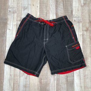 Speedo Red Black Swimsuit Trunks Swim Shorts M